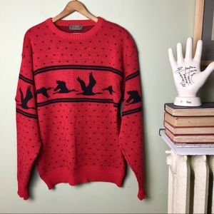 Vintage Thane Flying Goose Sweater geese large